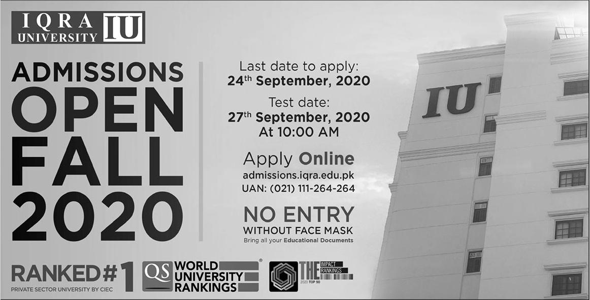 Iqra University Karachi Admissions advertisement