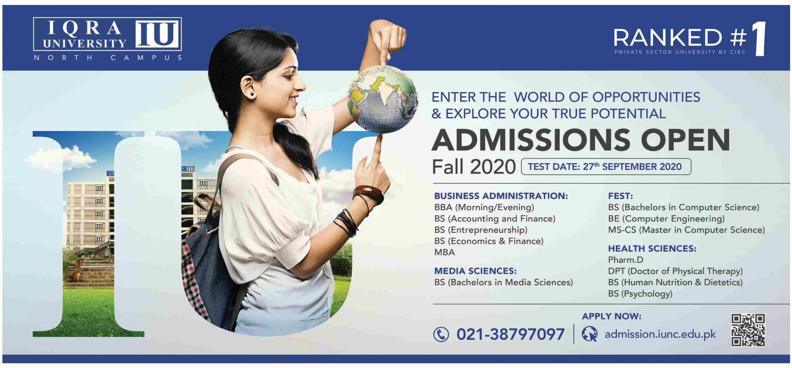 Iqra University Karachi Admissions last date ad