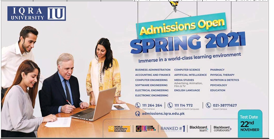Iqra University Karachi Spring Admissions advertisement
