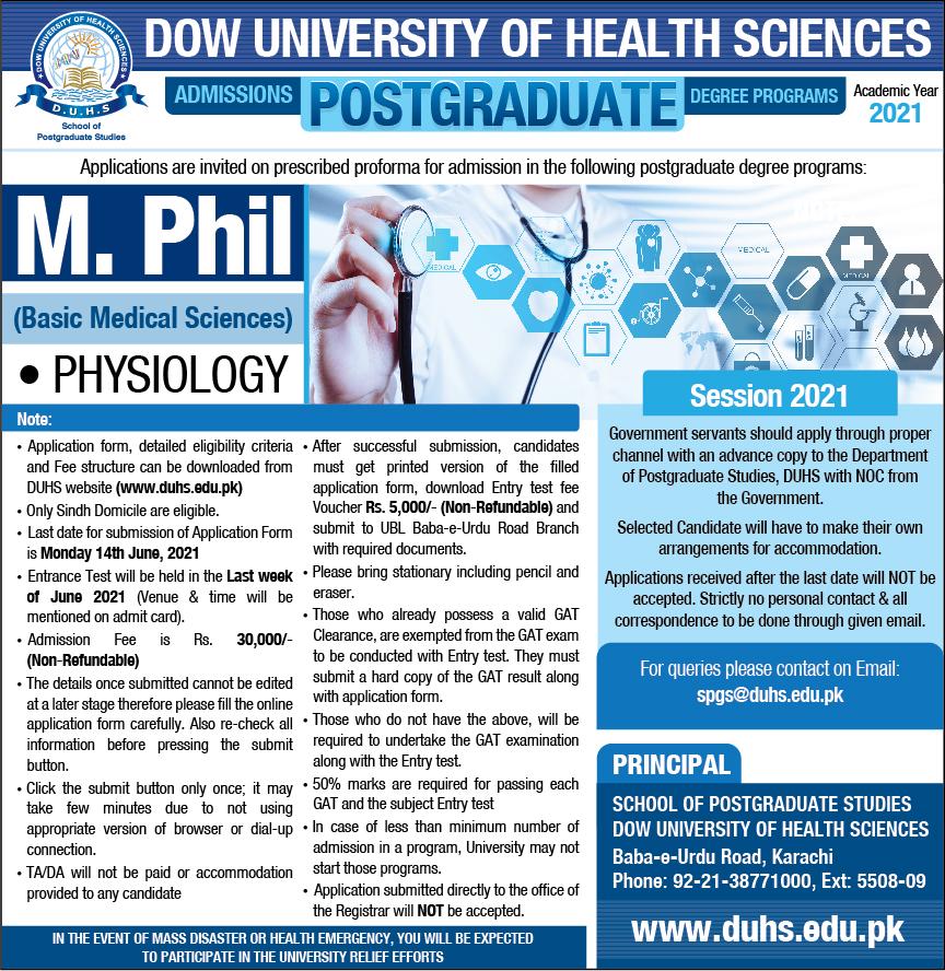 DUHS M.Phil admissionxc s