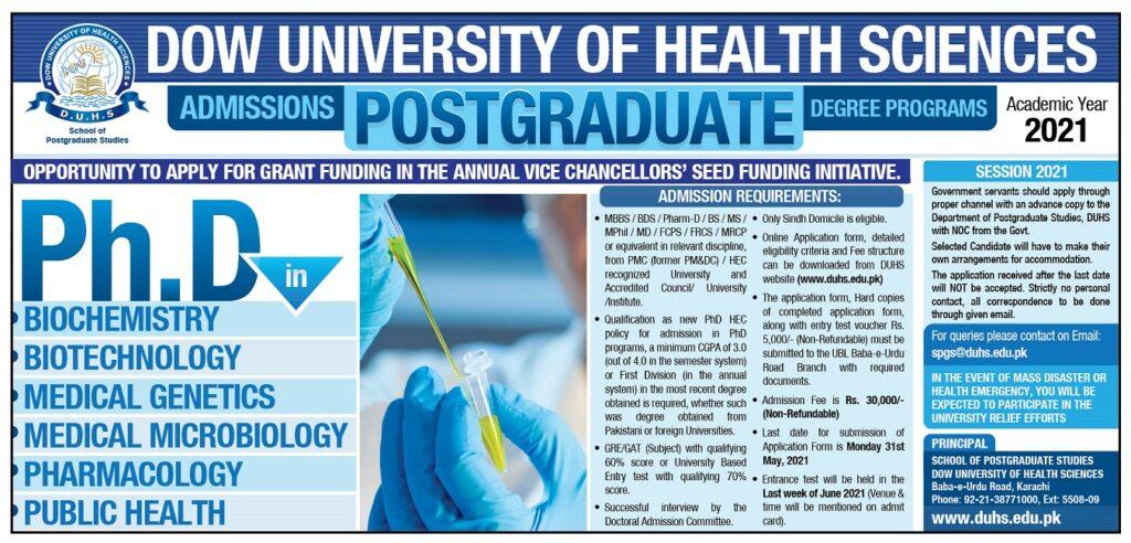 DUHS PhD admission advertisement