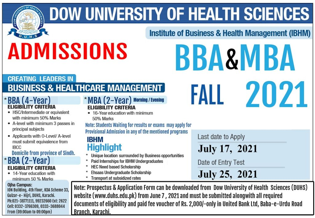 DUHS BBA MBA admission