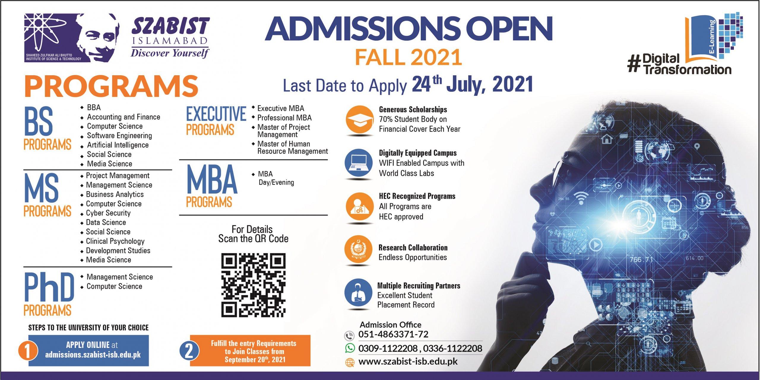 SZABIST admissions advertisement