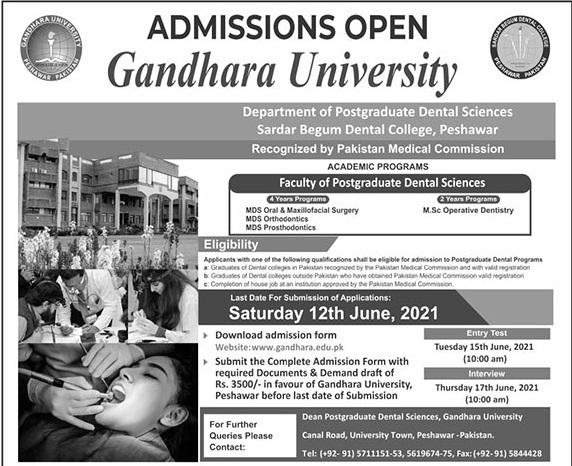 Gandhara University Peshawar Admissions
