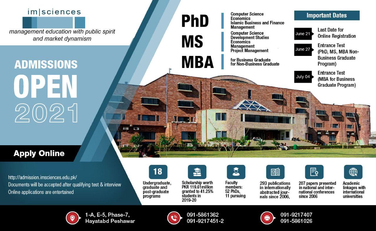 IM Sciences admission advertisement