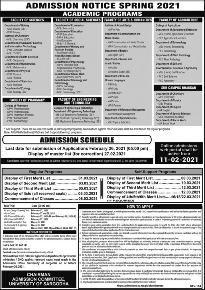 University of Sargodha admission