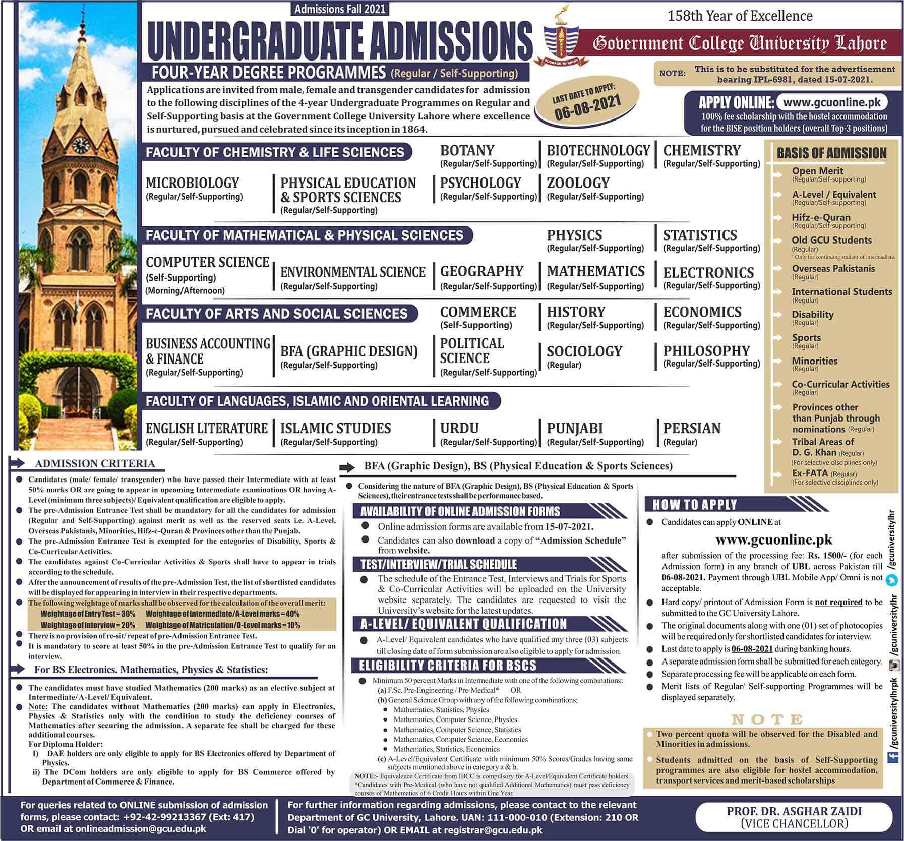 GCU Admission 2021 UG Ad