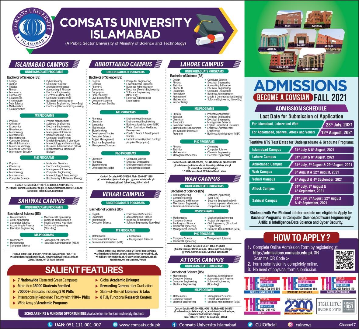 COMSATS admission Fall